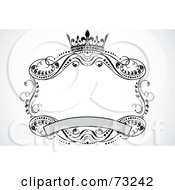 Royalty Free RF Clipart Illustration Of A Crown Banner And Scroll Frame by BestVector #COLLC73242-0144