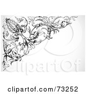Royalty Free RF Clipart Illustration Of A Black And White Intricate Floral Corner Border Version 4 by BestVector