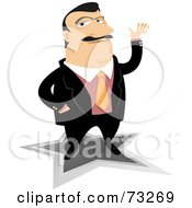 Royalty Free RF Clipart Illustration Of A Confident Businessman Gesturing With His Hand And Standing On A Star