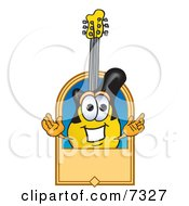 Clipart Picture Of A Guitar Mascot Cartoon Character With A Blank Tan Label by Toons4Biz