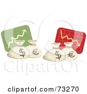 Royalty Free RF Clipart Illustration Of A Digital Collage Of Increase And Decrease Graphs With Money Bags by Qiun