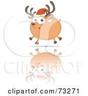 Royalty Free RF Clipart Illustration Of A Chubby Rudolph Reindeer Running On Reflective Ice