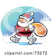 Royalty Free RF Clipart Illustration Of A Walking Santa With A Sack by Qiun