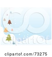 Royalty Free RF Clipart Illustration Of A Pastel Blue Winter Background With Snowy Hills And Hanging Christmas Trees