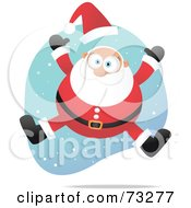 Royalty Free RF Clipart Illustration Of An Energetic Leaping Santa With Snow by Qiun