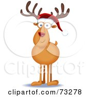 Royalty Free RF Clipart Illustration Of A Friendly Rudolph Reindeer Facing Front And Wearing A Santa Hat by Qiun