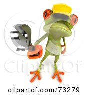 3d Green Tree Frog Contractor Wearing A Hard Hat And Holding A Wrench - Version 3