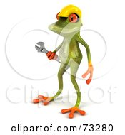 3d Green Tree Frog Contractor Wearing A Hard Hat And Holding A Wrench Version 2 by Julos