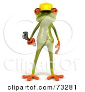 Royalty Free RF Clipart Illustration Of A 3d Green Tree Frog Contractor Wearing A Hard Hat And Holding A Wrench Version 1