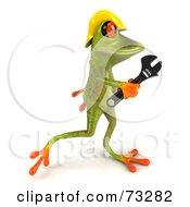 3d Green Tree Frog Contractor Wearing A Hard Hat And Holding A Wrench Version 4 by Julos