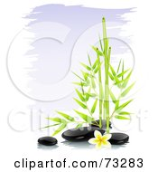 Royalty Free RF Clipart Illustration Of Green Bamboo With Black Spa Stones And A Frangipani Flower Over Purple Brush Strokes
