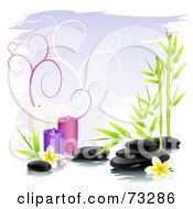 Black Shiny Spa Stones With Bamboo Frangipani Flowers And Colorful Candles Over Purple With Spirals