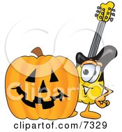 Clipart Picture Of A Guitar Mascot Cartoon Character With A Carved Halloween Pumpkin