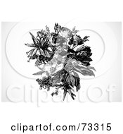 Royalty Free RF Clipart Illustration Of A Black And White Rose And Mixed Flower Bouquet