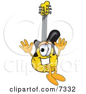 Clipart Picture Of A Guitar Mascot Cartoon Character Jumping by Toons4Biz