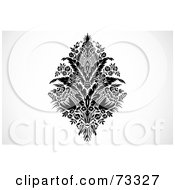 Royalty Free RF Clipart Illustration Of A Black And White Floral Bouquet With Feathers