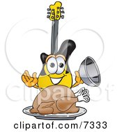 Clipart Picture Of A Guitar Mascot Cartoon Character Serving A Thanksgiving Turkey On A Platter