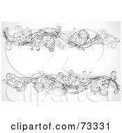 Royalty Free RF Clipart Illustration Of A Black And White Blank Text Box Border Version 12