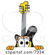 Clipart Picture Of A Guitar Mascot Cartoon Character Peeking Over A Surface by Toons4Biz