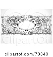 Royalty Free RF Clipart Illustration Of A Black And White Blank Grape Text Box Border by BestVector