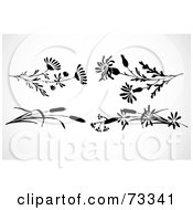 Royalty Free RF Clipart Illustration Of A Digital Collage Of Black And White Flowers And Reeds by BestVector