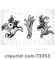 Royalty Free RF Clipart Illustration Of A Digital Collage Of Three Black And White Bouquet And Leaf Elements
