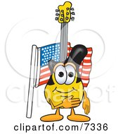 Clipart Picture Of A Guitar Mascot Cartoon Character Pledging Allegiance To An American Flag by Toons4Biz