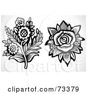 Royalty Free RF Clipart Illustration Of A Digital Collage Of Black And White Rose And Daisy Elements by BestVector