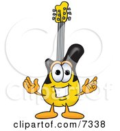 Guitar Mascot Cartoon Character With Welcoming Open Arms