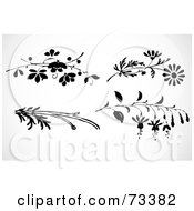 Royalty Free RF Clipart Illustration Of A Digital Collage Of Black And White Leafy Branches And Flowers by BestVector