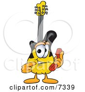 Clipart Picture Of A Guitar Mascot Cartoon Character Holding A Telephone
