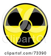 Black And Yellow Radiation Symbol On White