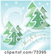 Royalty Free RF Clipart Illustration Of A Snowy Evergreen Merry Christmas Greeting by kaycee