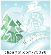 Snowy Evergreen And Snowman Merry Christmas Greeting