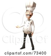 Royalty Free RF Clipart Illustration Of A 3d Chef Henry Character Smiling And Presenting With One Hand by Julos