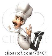 Royalty Free RF Clipart Illustration Of A 3d Chef Henry Character In Flight by Julos