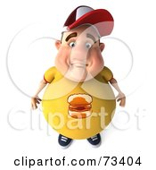 Royalty Free RF Clipart Illustration Of A 3d Chubby Burger Man Pouting by Julos