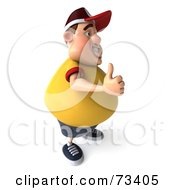 Royalty Free RF Clipart Illustration Of A 3d Chubby Burger Man Holding His Thumb Up Version 2 by Julos
