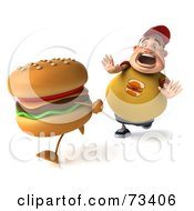 Royalty Free RF Clipart Illustration Of A 3d Chubby Burger Man Chasing A Cheeseburger Version 2 by Julos
