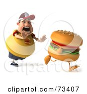 Royalty Free RF Clipart Illustration Of A 3d Chubby Burger Man Chasing A Cheeseburger Version 1 by Julos
