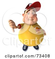 Royalty Free RF Clipart Illustration Of A 3d Chubby Burger Man Holding His Thumb Down by Julos