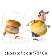 Royalty Free RF Clipart Illustration Of A 3d Chubby Burger Man Running From A Cheeseburger Version 1 by Julos