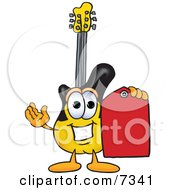 Guitar Mascot Cartoon Character Holding A Red Sales Price Tag