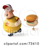 Royalty Free RF Clipart Illustration Of A 3d Chubby Burger Man Running From A Cheeseburger Version 2 by Julos