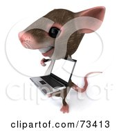 Royalty Free RF Clipart Illustration Of A 3d Mouse Character Presenting A Laptop With A Blank Screen