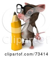Royalty Free RF Clipart Illustration Of A 3d Mouse Character Wearing Glasses And Standing With A Pencil
