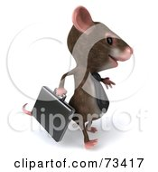 Royalty Free RF Clipart Illustration Of A 3d Mouse Character Businessman Carrying A Briefcase Version 2