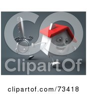 Royalty Free RF Clipart Illustration Of A 3d Key Character Chasing A House Version 2