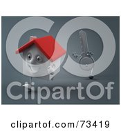 Royalty Free RF Clipart Illustration Of A 3d Key Character Chasing A House Version 1