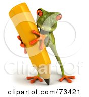 Royalty Free RF Clipart Illustration Of A 3d Green Tree Frog Carrying A Large Yellow Pencil Version 2